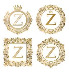 Golden letter z vintage monograms set heraldic vector