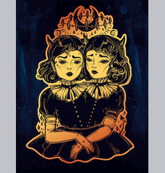 gothic witchcraft siamese twins vector image vector image