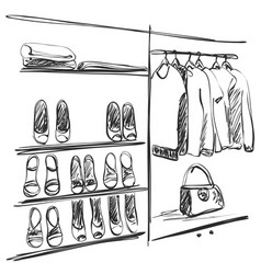 hand drawn wardrobe sketch shoes vector image vector image