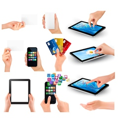 hands holding different business devices vector image vector image