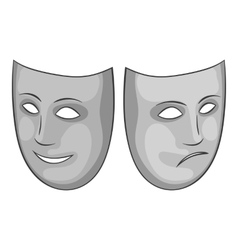 Happy and sad mask icon gray monochrome style vector