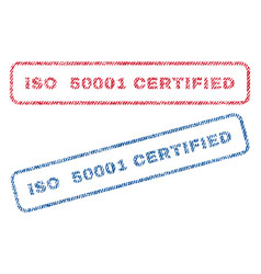 Iso 50001 certified textile stamps vector