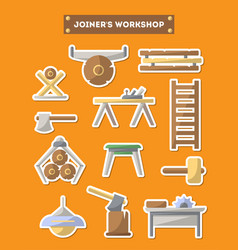 Joinery workshop furniture icon set in flat style vector