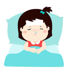 Little sick girl in bed cartoon vector