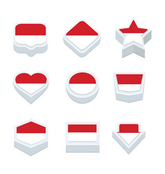 Monaco flags icons and button set nine styles vector