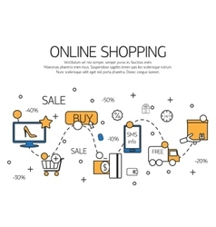 Online shopping outline concept of purchasing vector image