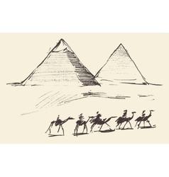 Pyramids cairo egypt with caravan camels vintage vector