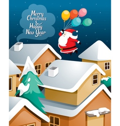Santa claus with balloons flying over village vector