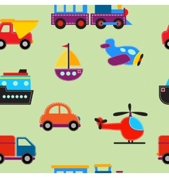 seamless pattern with cute baby transport toys vector image vector image