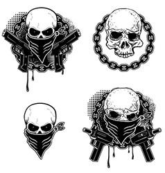 Set of the gangsta skull emblems vector