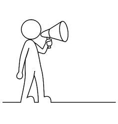 Simple person with megaphone vector