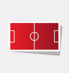 Soccer field new year reddish icon with vector