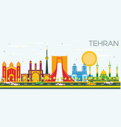 Tehran skyline with color landmarks and blue sky vector