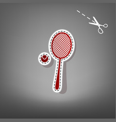 Tennis racquet with ball sign red icon vector