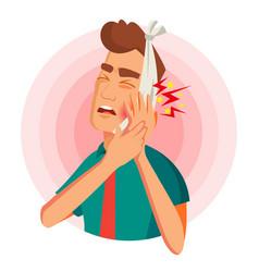 Toothache concept unhappy man with ache vector