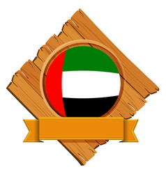 united arab emirates flag on round badge with vector image vector image