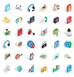 Web marketing icons set isometric style vector