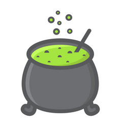 witch cauldron filled outline icon halloween vector image vector image
