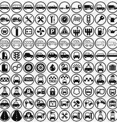 100 car and transport icons vector