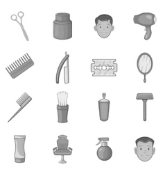 Barbershop icons set black monochrome style vector