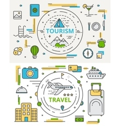 Thin line flat design tourism and travel vector