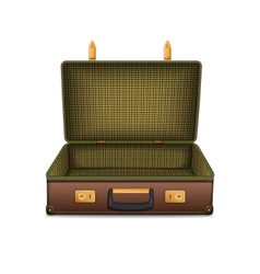 Empty retro suitcase isolated on white vector