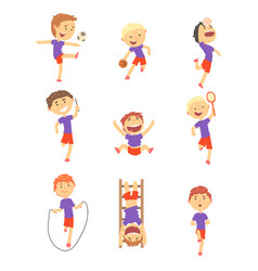 Cute happy boys doing sports set activity kids vector