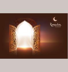 Ramadan kareem lettering text greeting card open vector