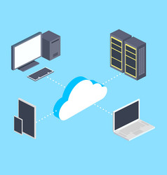 Cloud storage and computers isometric vector
