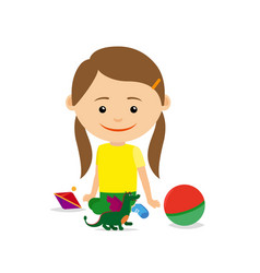 Little girl sitting with toys vector