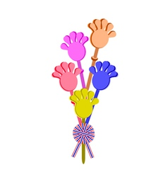 Plastic hand clap toy with a stripe ribbon vector