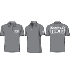 Front back and side views of polo-shirt vector