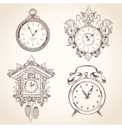 Old vintage clock set vector