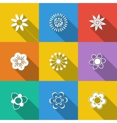 Set of floral buttons vector