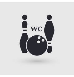 Icon bowling public convenience wc pictogram vector