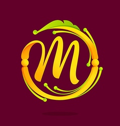 M letter monogram design elements vector