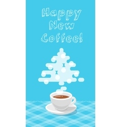 New year greeting card with a cup of coffee flat vector