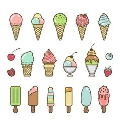 Icon set of yummy colored ice cream vector