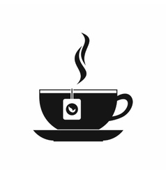 Cup with tea bag icon black simple style vector
