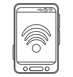 Cellphone with wifi icon vector