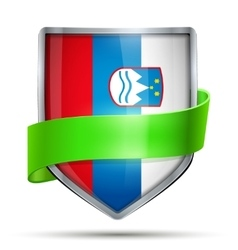 Shield with flag slovenia and ribbon vector