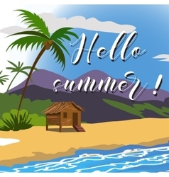 Brush lettering compositionphrase hello summer vector