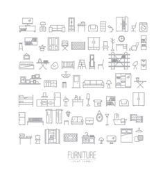 Furniture flat icons grey vector