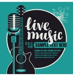 acoustic guitar and a microphone vector image vector image