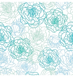 Blue line art flowers seamless pattern background vector