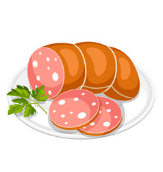 boiled sausage slices with parsley leaf on white vector image vector image
