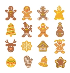 Christmas cookies flat icons set vector image vector image