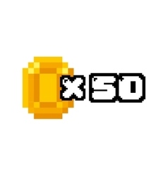 Coin gold pixelated icon vector