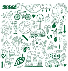 Ecology - doodles collection vector image vector image