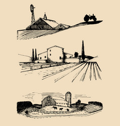farm landscapes set hand vector image
